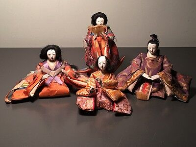 Taisho Period (1925 Or Later) Ningyo Japan Girl's Day Doll Lot Of 4 - Excellent!