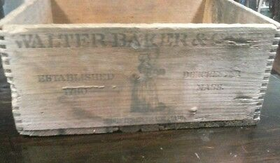 Antique BAKER'S BREAKFAST COCOA Wood Box - Walter Baker Co., Dorchester, Mass.