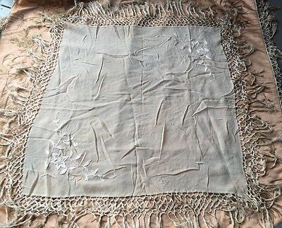 Antique 1920s Creamy Silk Chiffon Piano Shawl Scarf Hand Embroidery Vintage