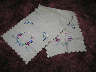 Antique VTG Hand Embroidered Royal Society Silk~Table Runner~Scarf~Butterfly