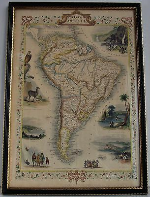 J TALLIS, SOUTH AMERICA,1851 HAND TINTED MAP w/VIGNETTES, RAPKIN,ROGERS,MARCHANT