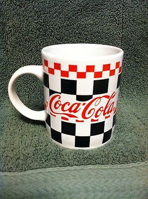 1996 Gibson/coca-Cola Black & Red Checkered On White Coffee/tea Mug