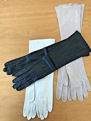 Vintage Designer Three Pair of Long Leather Gloves Spain and France Size Small