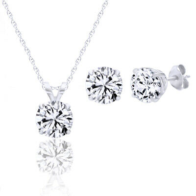 Pendant and Earring Set Sterling Silver 925 Made with Cubic Zirconia 3 cttw