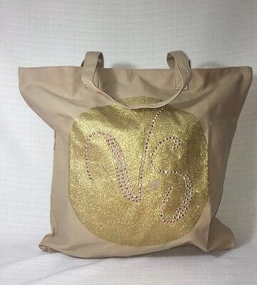 NWT Victoria's Secret Canvas Tote ~ Beach Bag Khaki VS Gold Heart