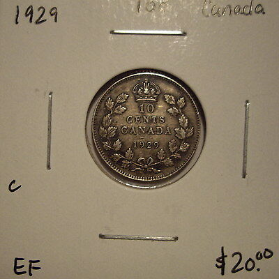 C Canada George V 1929 Silver Ten Cents - EF