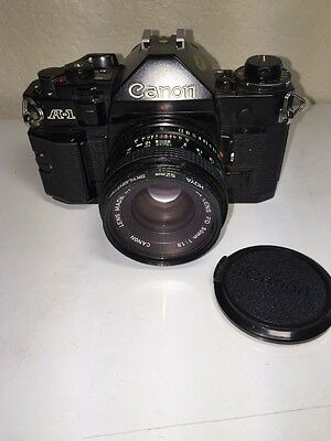Canon A-1 35mm Camera with Canon FD 50mm 1:1.8 Lens