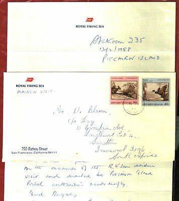 PITCAIRN ISLANDS 1988 UNIQUE ROYAL VIKING SEA COVER w/LETTER
