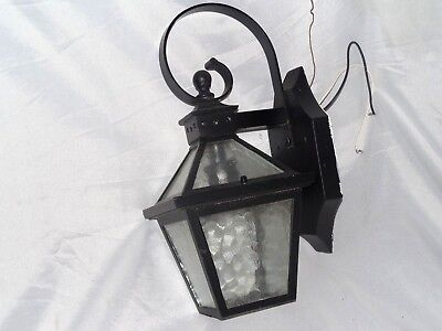 Pre-Owned Black Toned Metal Carriage Electric Wall Sconce Light Lamp