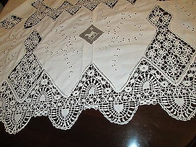 "Vintage Handmade White Linen Filet & Bobbin Lace Emboidery 72"" X 86"" Tablecloth"