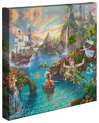 "Disney Peter Pan's Never Land Thomas Kinkade 14"" x 14"" Gallery Wrapped Canvas"