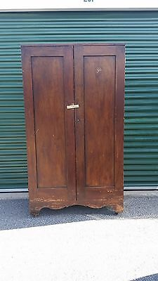Antique Kitchen Pantry Cabinet Cupboard Solid Wood Original Finish Double Door