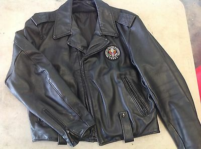 Police Cycle Leather Jacket - Men's 44 Made In USA