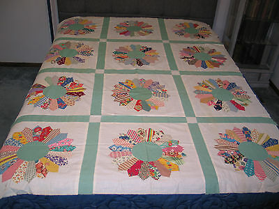 Antique Hand Appliqued~Dresden Plate Quilt Top~Cotton Feedsack Prints