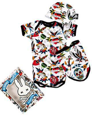 Six Bunnies Baby CUPCAKES GiftSet Strampler.Tattoo,Biker,Rockabilly,Custom Style