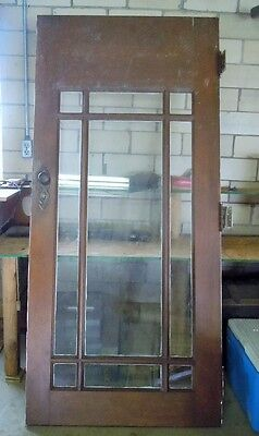 Vintage Heavy Wooden Exterior Entrance Door w/Glass Panes & Hardware
