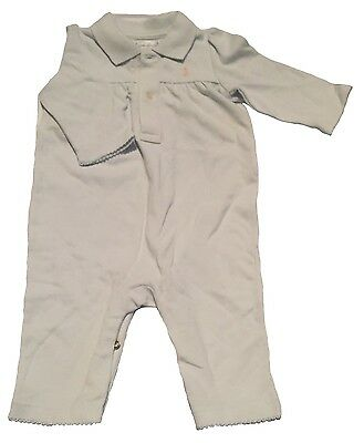 Ralph Lauren RL Girl Baby's Baby Blue 3 Months Cotton Coverall NEW Authentic