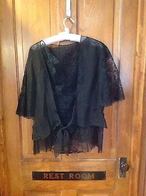 Vintage 2 Pc Black Lace Womens Overlay Top Blouse Neglige
