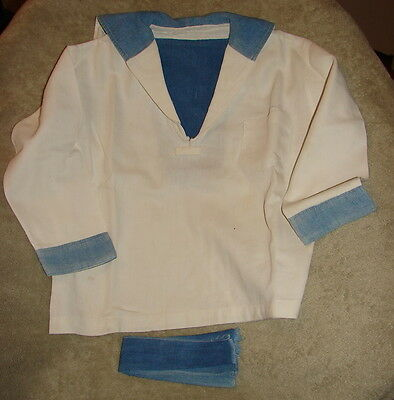 Vintage BOYS SAILOR SHIRT 1920s WHITE WITH BLUE COLLAR, CUFFS Approx. SZ 7 ?