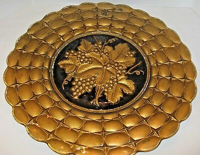 "Antique Victorian Glass Charger Plate Tray 19"" black gold Grapevine Charger plat"