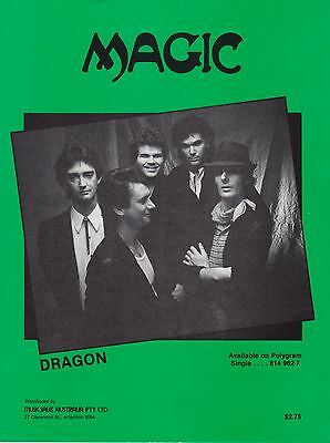 Dragon-Magic-1983 Sheet Music-Original Australian issue-Rare!