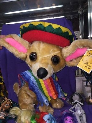 "VINTAGE GOFFA PLUSH TACO BELL Chihuahua SOMBRERO 15"" Huge Dog W Tags"