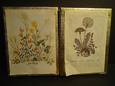 Antioch Bookplates 2 Boxes Ex Libris flowers From the Library of