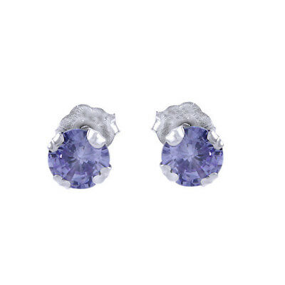 1ct Tanzanite Round 5mm Stud Earrings 925 Sterling Silver