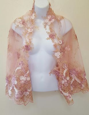 Blush Gold Embroidered Floral Tulle Lace Top Shrug Wrap Bridal Wedding Jacket