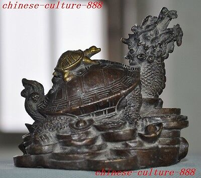 chinese bronze gilt wealth yuanbao money longevity Dragon Tortoise turtle statue