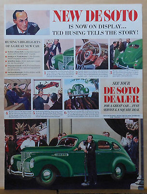 Vintage 1938 magazine ad for DeSoto - Ted Husing recommends, green DeSoto car