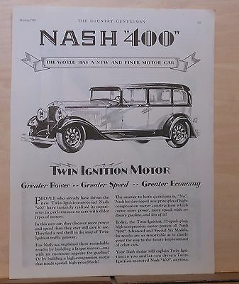 "1928 magazine ad for Nash - ""400"", with Twin Ignition motor, Finer motor car"