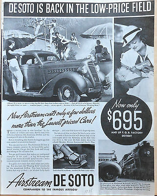 Vintage 1935 magazine ad for DeSoto - Airstream at poolside, photo ad