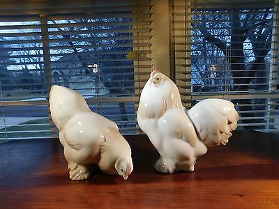 Pair of Lladro Chickens Puffingtons Cock - Rooster and his Hen Retired Excellent