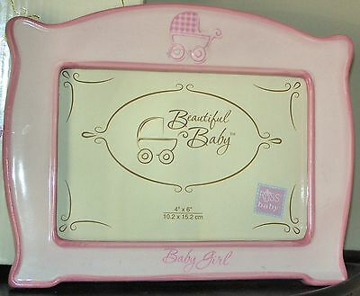 """Pink 8 x 6"""" Beautiful Baby Carriage Girl Photo Picture Frame by Russ Berrie age"""