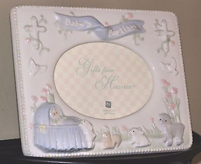 8 x 6 RUSS PORCELAIN BLUE BABY BOY BAPTISM PHOTO FRAME GIFTS FROM HEAVEN