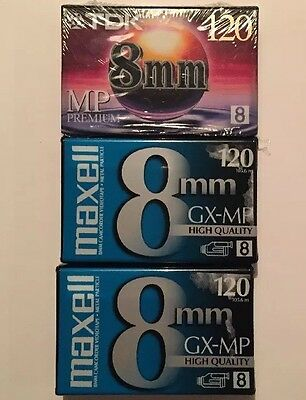 Lot Of 3 8mm Blank Camcorder Videotapes 120 Mins Maxell TDK