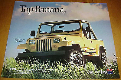 "1989 Jeep Wrangler Islander Yellow Truck 1 Page Ad ""Top Banana"" #032517"