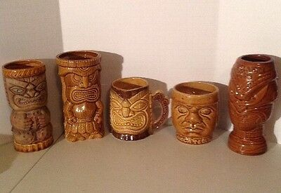 "Lot Of 5 Tiki 6"" And 4"" Jeckyll Hyde Trader Dicks Olmeca Tequila"