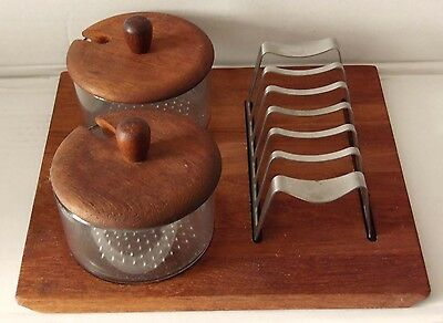 Vintage Danish Breakfast Companion Set ~ Toast Rack + 2 Preserve Pots ~ Teak