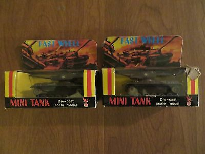 Vintage Fast Wheel Mini Tank Diecast lot of 2 New old stock NOS