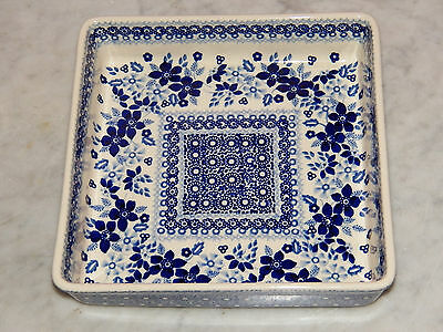 "Genuine Hand Made Polish Pottery 8"" Square Baker! UNIKAT Rembrandt in Blue!"