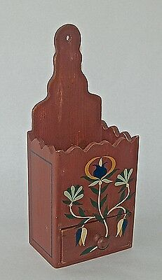 Vintage Painted Candle Wall Box with Drawer Primitive Style