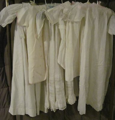 8 Pc Antique Christening Gowns Dress Baby Dolls Lace Ruffle Pintuck Embroidery *