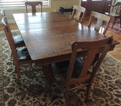Antique Oak Dining Room Ball & Claw Foot Hand Carved Table 6 Chairs Quarter Sawn