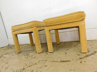 Pair MCM Mid Century Modern 70s Hollywood Yellow FootStool Ottoman