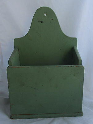 Vintage Primitive AAFA Green Painted Wood Wall Hanging Storage Open Box
