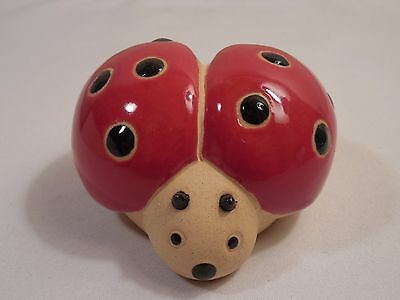 """Old Clay Pottery Ladybug Figurine ~ 2 3/4"""" Wide ~ 2 3/4"""" Long ~ 1 3/4"""" Tall"""