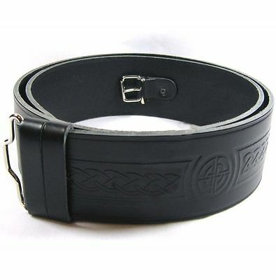 Pure Leather Kilt Highland Celtic Embossed Belt Adjustable size S,M,L,XL,2XL,3XL