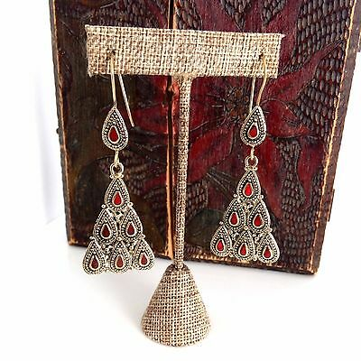 "Pretty Red Inlay Boho Chic Ethnic Tribal Kuchi Style Earrings Jewelry 3"" Long"